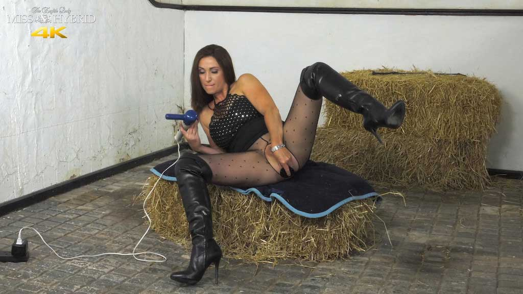 Leather boots pantyhose and Magic Wand DP, Miss Hybrid.
