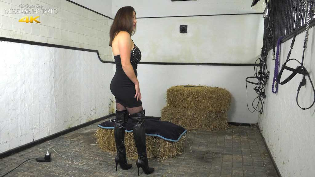 Leather boots pantyhose and both holes filled, Miss Hybrid.